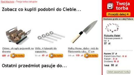 Efekt po dodaniu towaru do koszyka w sklepie redmachine.pl