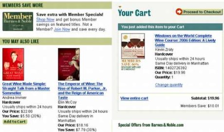 Efekt po dodaniu towaru do koszyka w sklepie Barnes and Noble