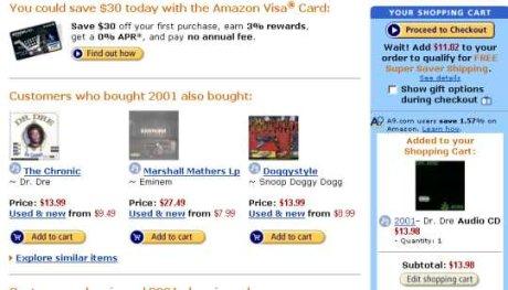 Efekt po dodaniu towaru do koszyka w sklepie Amazon.com